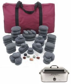 MassageMaster HOT STONE MASSAGE KIT: 70 Basalt Stones + 18 Quart (17l) Heater