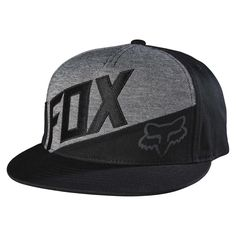 Fox Racing men's Conjunction snapback hat is now available at Vulcinity! - 70% Cotton / 19% Polyester / 11% Rayon - Front and side fabric paneling - Front Fox embroidery with Fox Head logo screen prin