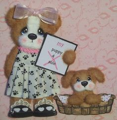 Adorable tear bear with her little puppy....how cute!