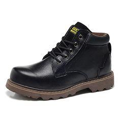 Talón plano hombres del cuero del tobillo de trabajo y botas de seguridad (más colores) - USD $ 44.99