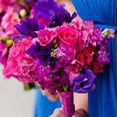 bouquets made with vibrant pink, fuchsia, and purple.