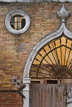 Window and doorway, Venice, Italy. Arched Windows, Windows And Doors, Baroque Architecture, Dream City, Built Environment, Office Art, Doorway, Fresco, Mosaic