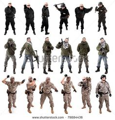 collage,various military soldier poses , isolated in white by grafvision, via Shutterstock