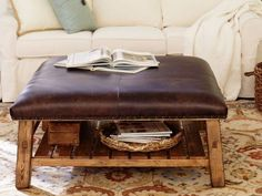 Rustic Leather Ottoman Coffee Table Home Decorating Trends Homedit