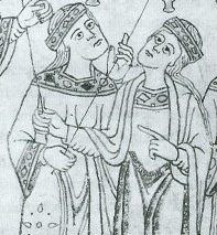 illustrations in the legend of St. Lucy in a german manuscript from c. 1130. Detail.