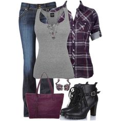 Top 5 Outfits For Awsome Looks - Mode Pour Couples Polyvore Outfits, Komplette Outfits, Casual Outfits, Fashion Outfits, Fashion Trends, Purple Outfits, Fashion Ideas, Plaid Shirt Outfits, Fresh Outfits