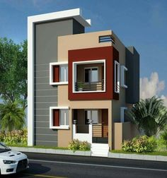 New Exterior Modern House Colors Decor 64 Ideas House Outside Design, House Front Design, Small House Design, Modern House Design, Bungalow Haus Design, Duplex House Design, Independent House, Single Floor House Design, Floor Design