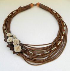 Handmade bib necklace  Brown statement necklace  by insoujewelry, $62.00