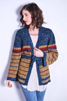 1970s Space Dyed Rusty Stripe Belted Cardigan // Available at UXCvintage