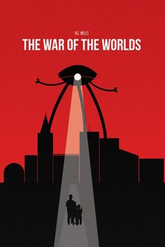 Trey: The contrast of this book cover is really strong, using red, black and white which are really bold and intense colours together. Balance and space is applied effectively through the red background and the black outline of the city. The spot light on the people coming from the alien figure portrays the sci fi genre.