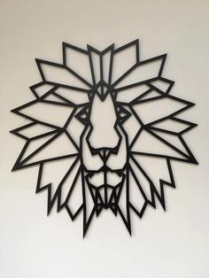 Items similar to Geometric Lion Animal Head, Large Original and Unique Laser cut Artwork Contemporary Scandinavian Style Design on Etsy Lion Origami, Geometric Lion, Geometric Painting, Lion Drawing, Diy And Crafts, Paper Crafts, Dragon Jewelry, Animal Heads, Laser Cutting