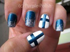 Finland Flag Nail Design