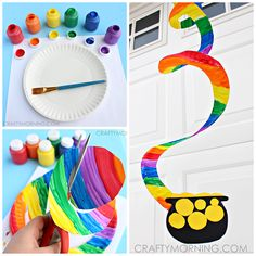 Make a paper plate rainbow craft for kids! It's a fun st patricks day art project with a pot of gold.