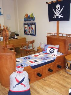 NAUTICAL Ships Bedding into Childrens Room - Pirate Quilt Blanket, Pirate Wall Hanging, Bag, with a skull applicated Flag via Etsy