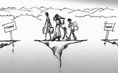 Refugee Illustration by tseWmadA accompanying piece on Refugees.