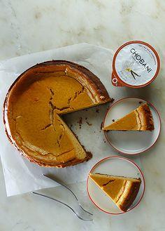 Pumpkin Cheesecake made with Vanilla Chobani Greek Yogurt.