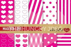 This is a Kitwith Pink MagentaDigital Background Sheets::Patterns withhearts,dots & lines. You get 10 High Quality Sheets::JPG files inLetter and A4 size with300 dpi jpg, for perfect printing or digital use. These have so many uses, they are great for scrapbooking, crafts, party decor, DIY projects, blogs, stationary& more. All patterns are original and copyrighted by All is Full of Love