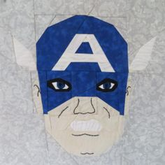 Free paper pieced quilt pattern: Captain America by Lynne S., part of Super Hero Sundays on Fandom In Stitches. fandominstitches.com