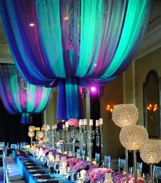 decoration Idea for quinceaneara | quinceanera reception ideas blue purple theme | Quinceañera ...