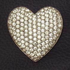 Vintage Sterling Crystal Rhinestone Heart Pin