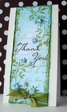 Lucy's Cards: Vintage Thank You. Stamp the main image, one of the cling stamps from theTwo VineScrollscling set, inShabby ShuttersandFadedJeansdistress inks,then cut it out. Stamp theOld French Writingtext inShabby Shuttersink.Distress the edges and ink over withTumbled Glass. Stamp a sentiment from theJust Find Meset.Embellish withpearlsand ribbon (I inked some cream ribbon to match: my fingers are green... I can't get it off.)Stamp the script onto a strip ofEggshell…