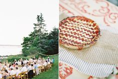 Natural East Coast Maine Wedding Red American Cherry Pie Dessert Reception Tables