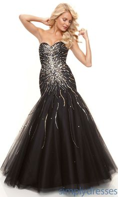 Gorgeous Mermaid Sweetheart Tulle Long Strapless Beaded Drop Waist Prom/Evening/Formal Dresses ml-93031