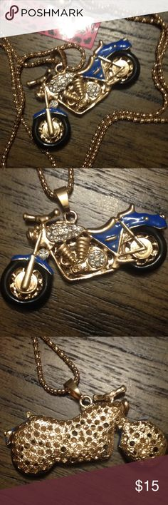 Betsey Johnson motorcycle pendant necklace Betsey Johnson motorcycle pendant necklace blue gold black tires, adorable. 24 inch chain new item makes a great gift bundle for 15% discount Betsey Johnson Jewelry Necklaces