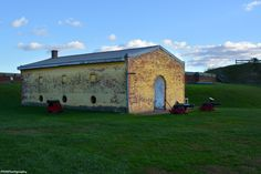The Arsenal/Former Guardhouse; note the thickness of the wall at the entrance. The round windows were designed specifically for air circulation.