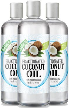Fractionated Coconut Oil 16oz - 100% Pure, Premium Therapeutic Grade - Best Base or Carrier Oil for Aromatherapy, Essential Oil, and Massage - Numerous Hair and Skin Benefits and Perfect for use in Creams, Shampoos, And Other Home Recipes - Large 16 ounce size - Pack of 3 ** Check out this great image  : coconut essential oil