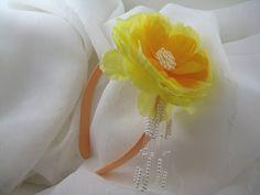 Handmade Toddler Children Headband Bright Yellow by AnjusCreations