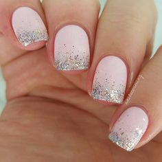 Stylish Ombre Glitter Nails picture 1 Many women prefer to visit the hairdresser even if they cannot have time to … Ombre Nail Designs, Nail Art Designs, Cute Nails, Pretty Nails, Dip Manicure, Nailart, Short Gel Nails, Finger, Nail Pictures