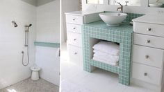 House of Turquoise: Molly Frey Design - one day, for my bathroom remodel. Love the drawers for storage.