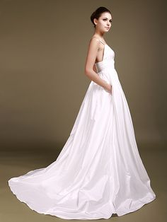 Simple Style Taffeta Sweetheart Neckline with Beading Lace Empire Waistband Backless A-line Style Chapel Train Wedding Dresses with Pockets 2012
