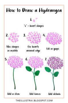 Drawing Doodles Ideas In this drawing tutorial, learn how to draw a hydrangea flower by using two basic shapes - In this drawing tutorial, learn how to draw a hydrangea flower by using two basic shapes Flower Drawing Tutorials, Flower Sketches, Art Tutorials, Art Sketches, Drawing Flowers, Painting Flowers, Simple Flower Painting, Drawing Ideas, Simple Flower Drawing