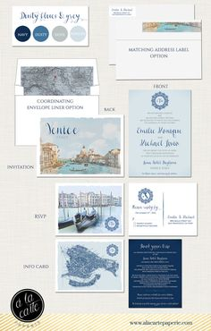 Destination wedding invitation Venice Italy Wedding Invitation Suite dusty blues greys silver European wedding ♥ Deposit Payment to begin work on