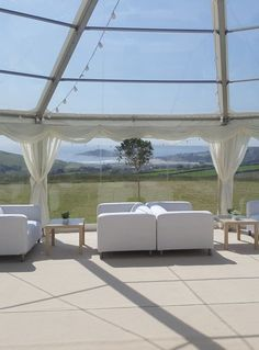 Create a relaxed chill out area in your wedding marquee with sofas and coffee tables. Great for soaking up that view! Marquee Hire, Marquee Wedding, Wedding Pics, Wedding Venues, Wedding Ideas, Devon And Cornwall, Exeter, Somerset, Outdoor Furniture