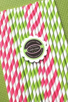 Stripe Paper Straws in Hot Pink - Lime Green with Printable Birthday DIY Flag Toppers - Sweet Pea Collection  (30 count). $5.00, via Etsy.