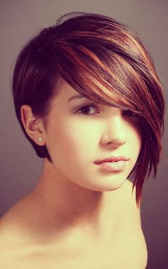 Dark Red Brunette Hair Color: Asymmetry Short Haircut love the color Round Face Haircuts, Hairstyles For Round Faces, Hairstyles Haircuts, Bob Haircuts, Teenage Hairstyles, Braid Hairstyles, School Hairstyles, Medium Hairstyles, Female Hairstyles