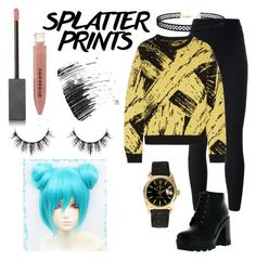 """Splatter Prints Miku Cosplay!"" by vocaloid-cosplay ❤ liked on Polyvore featuring adidas Originals, Bamboo, Sibling, Burberry, AERIN, Rolex and LULUS"