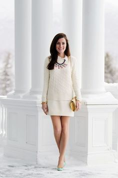 Sarah Vickers from Classy Girls Wear Pearls, 07 January 2013. Wearing: J.Crew Sweater | J.Crew Skirt | J.Crew Necklace | Vintage Bag | Kate Spade Shoes.
