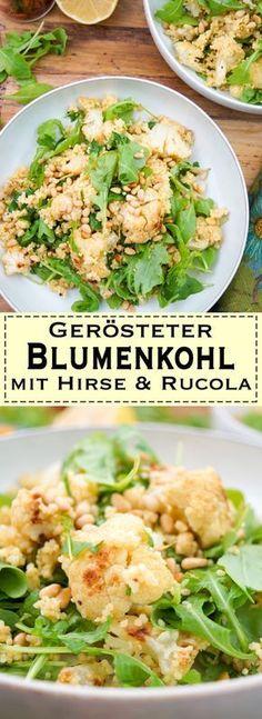 Ein sehr einfaches und leckeres Salat-Rezept für gerösteter Blumenkohl mit Kreuzkümmel. Weitere Zutaten sind Hirse, Petersilie, junger Rucola, Zitrone und Pinienkerne. Das Gericht lässt sich auch noch gut am nächsten Tag essen falls Ihr mal vorkochen wollt. Vegan, Vegatarisch, Glutenfrei. Gesunde Rezepte - Elle Republic