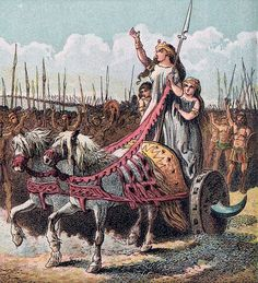 Joseph Martin Kronheim, Boadicea, leader of the rebellion against the Romans (Pictures of English History, Plate IV), Women In History, British History, Ancient Rome, Ancient History, Roman Pictures, Queen Boudica, Iceni Tribe, Celtic Druids, Roman Britain
