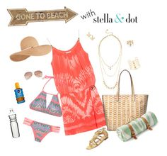 """Gone to the beach with Stella and Dot"" by caroline-rader-znaniec on Polyvore featuring Heidi Klein, Universal Lighting and Decor, Jerome C. Rousseau, Stella & Dot, Luli Fama, Maslin & Co., H&M, Nivea, Eugenia Kim and Dot & Bo"