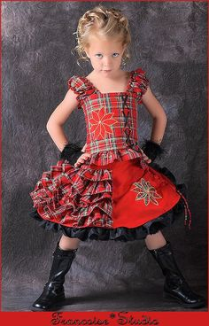 Girls holiday Christmas red black plaid pageant Twirl skirt corset outfit  Size 2T to 12 yrs - Holiday Flower