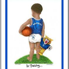 Kentucky Wildcats basketball art print African American In Training | kidsntraining - Children's on ArtFire