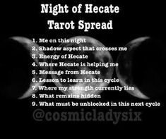 Night of Hecate Tarot Spread Witchcraft Spell Books, Wiccan Spell Book, Wiccan Witch, Wiccan Spells, Magick, Witch Rituals, Magic Spells, Hecate Symbol, Hecate Goddess