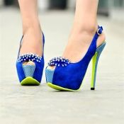 $21.99 Fahion Round Peep Toe Flowers Embellished Stiletto High Heels Blue Slingbacks PumpsPumps