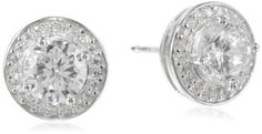 Simulated Diamond Round Halo Stud Earrings - Jewelry For Her