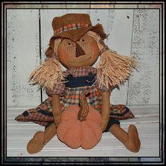Primitive folk art scarecrow girl hand by LucysLazyDayzFolkArt, $38.00 #fall rag doll #scarecrow girl